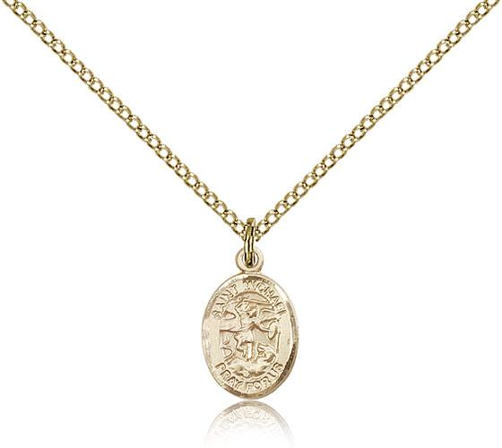 Gold filled st michael the archangel pendant gold filled lite curb gold filled st michael the archangel pendant gold filled lite curb chain small size catholic medal mozeypictures Image collections