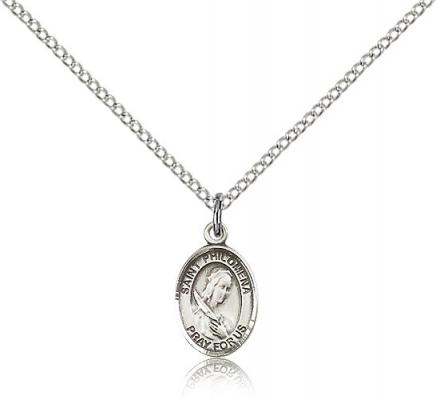 "Sterling Silver St. Philomena Pendant, Sterling Silver Lite Curb Chain, Small Size Catholic Medal, 1/2"" x 1/4"""