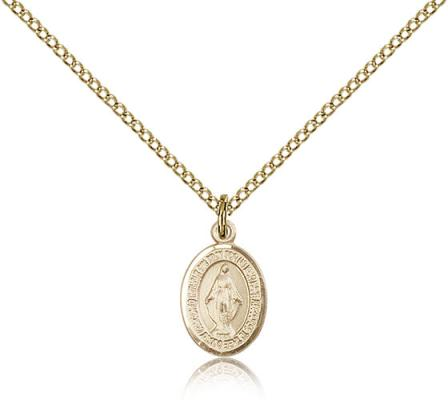 "Gold Filled Miraculous Pendant, Gold Filled Lite Curb Chain, Small Size Catholic Medal, 1/2"" x 1/4"""
