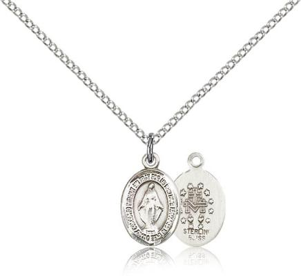 "Sterling Silver Miraculous Pendant, Sterling Silver Lite Curb Chain, Small Size Catholic Medal, 1/2"" x 1/4"""