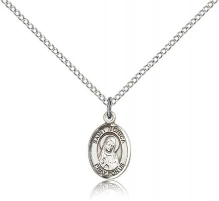 "Sterling Silver St. Monica Pendant, Sterling Silver Lite Curb Chain, Small Size Catholic Medal, 1/2"" x 1/4"""