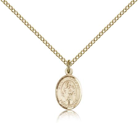 "Gold Filled St. Nicholas Pendant, Gold Filled Lite Curb Chain, Small Size Catholic Medal, 1/2"" x 1/4"""