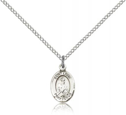 "Sterling Silver St. Louis Pendant, Sterling Silver Lite Curb Chain, Small Size Catholic Medal, 1/2"" x 1/4"""