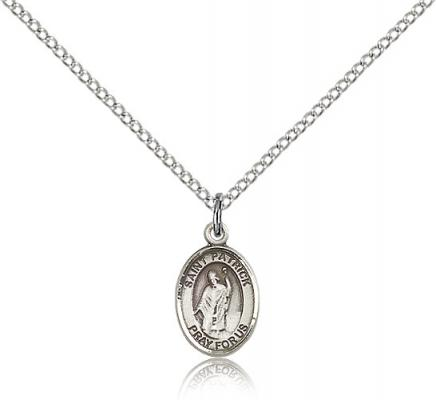 "Sterling Silver St. Patrick Pendant, Sterling Silver Lite Curb Chain, Small Size Catholic Medal, 1/2"" x 1/4"""