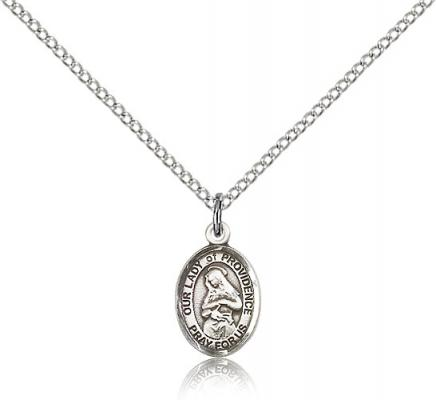 "Sterling Silver Our Lady of Providence Pendant, Sterling Silver Lite Curb Chain, Small Size Catholic Medal, 1/2"" x 1/4"""