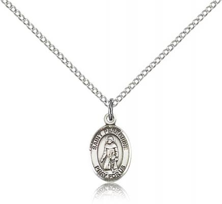 "Sterling Silver St. Peregrine Laziosi Pendant, Sterling Silver Lite Curb Chain, Small Size Catholic Medal, 1/2"" x 1/4"""