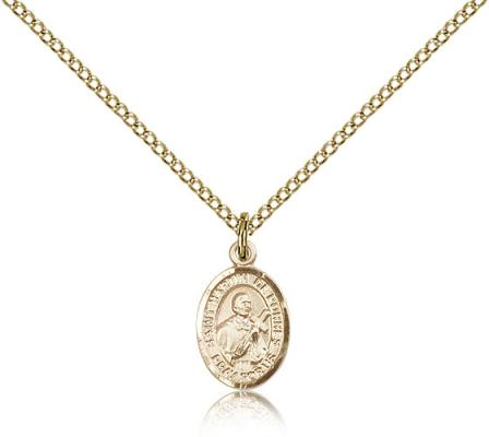 "Gold Filled St. Martin de Porres Pendant, Gold Filled Lite Curb Chain, Small Size Catholic Medal, 1/2"" x 1/4"""