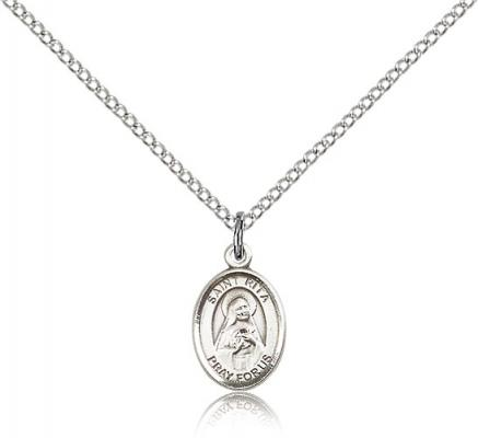 "Sterling Silver St. Rita of Cascia Pendant, Sterling Silver Lite Curb Chain, Small Size Catholic Medal, 1/2"" x 1/4"""