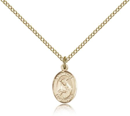 "Gold Filled St. Rose of Lima Pendant, Gold Filled Lite Curb Chain, Small Size Catholic Medal, 1/2"" x 1/4"""