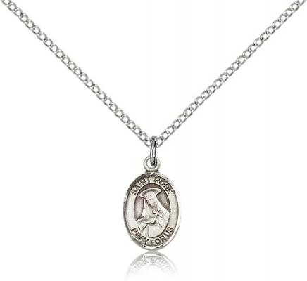 "Sterling Silver St. Rose of Lima Pendant, Sterling Silver Lite Curb Chain, Small Size Catholic Medal, 1/2"" x 1/4"""