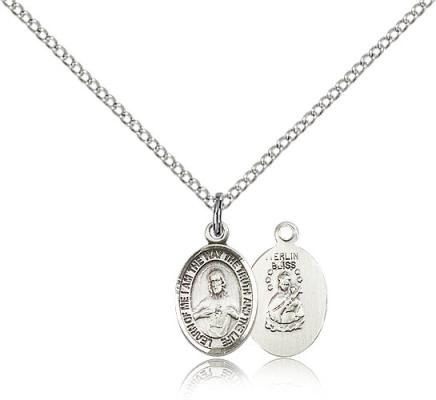 "Sterling Silver Scapular Pendant, Sterling Silver Lite Curb Chain, Small Size Catholic Medal, 1/2"" x 1/4"""