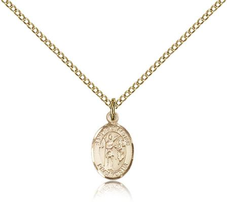 "Gold Filled St. Sebastian Pendant, Gold Filled Lite Curb Chain, Small Size Catholic Medal, 1/2"" x 1/4"""