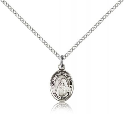 "Sterling Silver St. Teresa of Avila Pendant, Sterling Silver Lite Curb Chain, Small Size Catholic Medal, 1/2"" x 1/4"""