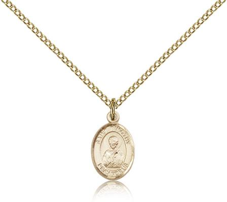 "Gold Filled St. Timothy Pendant, Gold Filled Lite Curb Chain, Small Size Catholic Medal, 1/2"" x 1/4"""