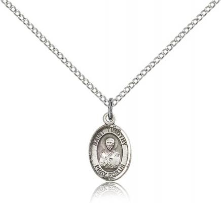 "Sterling Silver St. Timothy Pendant, Sterling Silver Lite Curb Chain, Small Size Catholic Medal, 1/2"" x 1/4"""
