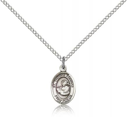 "Sterling Silver St. Thomas Aquinas Pendant, Sterling Silver Lite Curb Chain, Small Size Catholic Medal, 1/2"" x 1/4"""