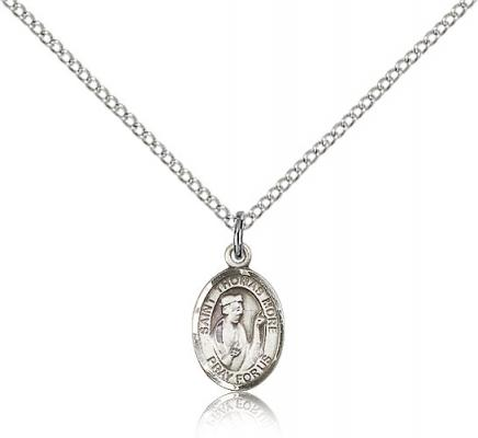 "Sterling Silver St. Thomas More Pendant, Sterling Silver Lite Curb Chain, Small Size Catholic Medal, 1/2"" x 1/4"""