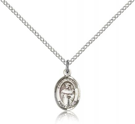 "Sterling Silver St. Casimir of Poland Pendant, Sterling Silver Lite Curb Chain, Small Size Catholic Medal, 1/2"" x 1/4"""