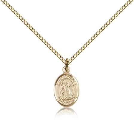 "Gold Filled St. Bridget of Sweden Pendant, Gold Filled Lite Curb Chain, Small Size Catholic Medal, 1/2"" x 1/4"""