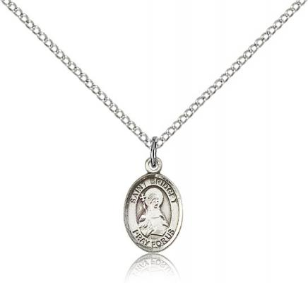 "Sterling Silver St. Bridget of Sweden Pendant, Sterling Silver Lite Curb Chain, Small Size Catholic Medal, 1/2"" x 1/4"""