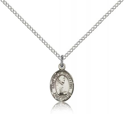 "Sterling Silver St. Pio of Pietrelcina Pendant, Sterling Silver Lite Curb Chain, Small Size Catholic Medal, 1/2"" x 1/4"""
