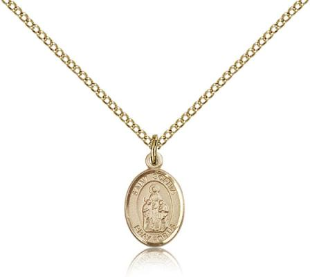"Gold Filled St. Sophia Pendant, Gold Filled Lite Curb Chain, Small Size Catholic Medal, 1/2"" x 1/4"""