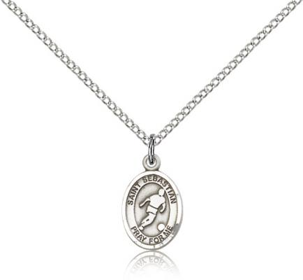 "Sterling Silver St. Sebastian Pendant, Sterling Silver Lite Curb Chain, Small Size Catholic Medal, 1/2"" x 1/4"""
