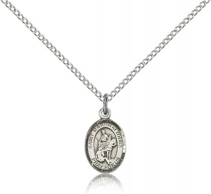 "Sterling Silver St. Martin of Tours Pendant, Sterling Silver Lite Curb Chain, Small Size Catholic Medal, 1/2"" x 1/4"""