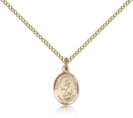 "Gold Filled St. Vincent Ferrer Pendant, Gold Filled Lite Curb Chain, Small Size Catholic Medal, 1/2"" x 1/4"""
