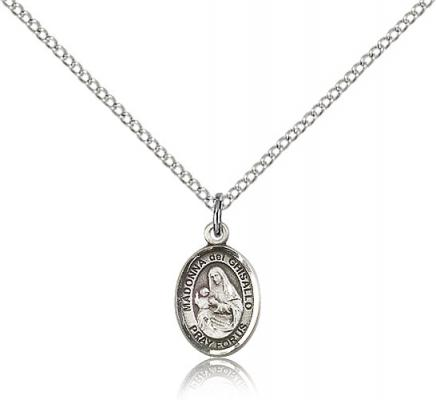 "Sterling Silver St. Madonna Del Ghisallo Pendant, Sterling Silver Lite Curb Chain, Small Size Catholic Medal, 1/2"" x 1/4"""