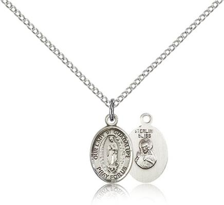 "Sterling Silver Our Lady of Guadalupe Pendant, Sterling Silver Lite Curb Chain, Small Size Catholic Medal, 1/2"" x 1/4"""