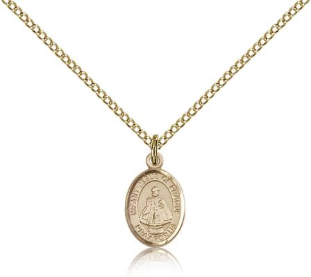 "Gold Filled Infant of Prague Pendant, Gold Filled Lite Curb Chain, Small Size Catholic Medal, 1/2"" x 1/4"""