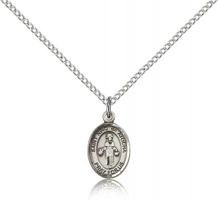 "Sterling Silver El Nino De Atocha Pendant, Sterling Silver Lite Curb Chain, Small Size Catholic Medal, 1/2"" x 1/4"""