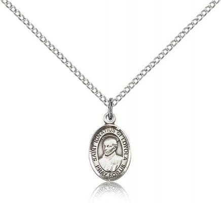 "Sterling Silver St. Ignatius of Loyola Pendant, Sterling Silver Lite Curb Chain, Small Size Catholic Medal, 1/2"" x 1/4"""