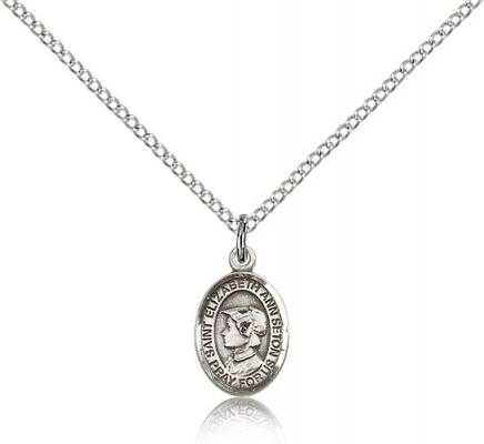 "Sterling Silver St. Elizabeth Ann Seton Pendant, Sterling Silver Lite Curb Chain, Small Size Catholic Medal, 1/2"" x 1/4"""