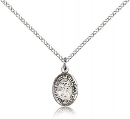 "Sterling Silver St. Bernard of Clairvaux Pendant, Sterling Silver Lite Curb Chain, Small Size Catholic Medal, 1/2"" x 1/4"""