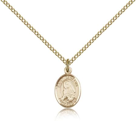"Gold Filled St. Madeline Sophie Barat Pendant, Gold Filled Lite Curb Chain, Small Size Catholic Medal, 1/2"" x 1/4"""