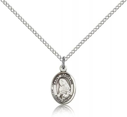 "Sterling Silver St. Madeline Sophie Barat Pendant, Sterling Silver Lite Curb Chain, Small Size Catholic Medal, 1/2"" x 1/4"""