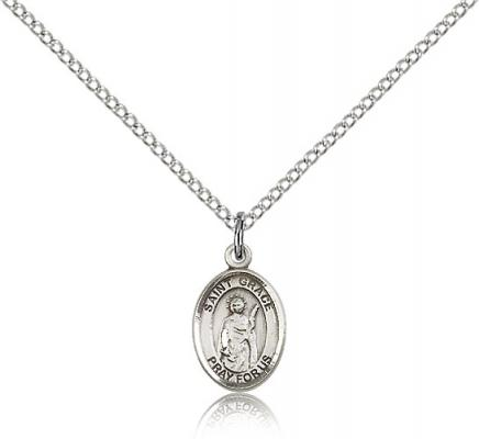 "Sterling Silver St. Grace Pendant, Sterling Silver Lite Curb Chain, Small Size Catholic Medal, 1/2"" x 1/4"""