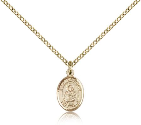 "Gold Filled St. Christian Demosthenes Pendant, Gold Filled Lite Curb Chain, Small Size Catholic Medal, 1/2"" x 1/4"""