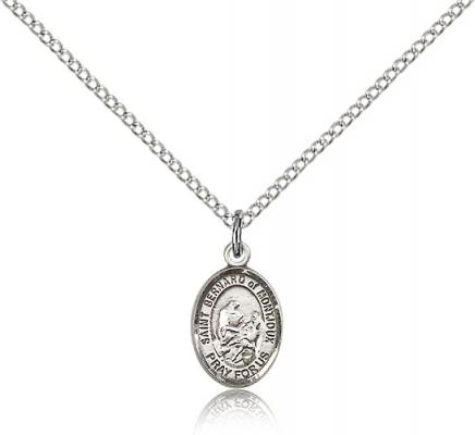 "Sterling Silver St. Bernard of Montjoux Pendant, Sterling Silver Lite Curb Chain, Small Size Catholic Medal, 1/2"" x 1/4"""