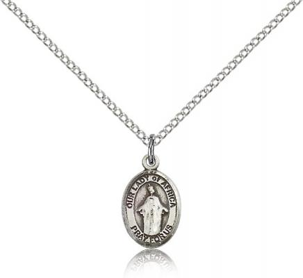 "Sterling Silver Our Lady of Africa Pendant, Sterling Silver Lite Curb Chain, Small Size Catholic Medal, 1/2"" x 1/4"""