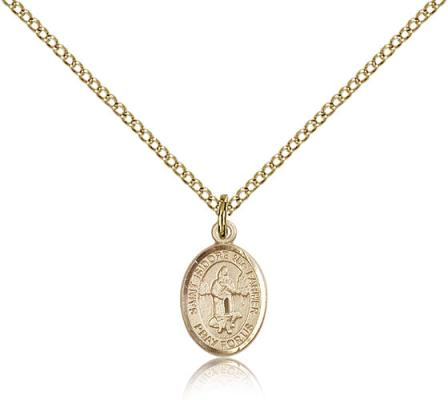 "Gold Filled St. Isidore the Farmer Pendant, Gold Filled Lite Curb Chain, Small Size Catholic Medal, 1/2"" x 1/4"""