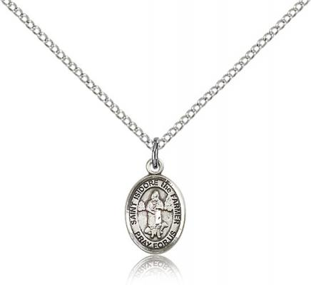 "Sterling Silver St. Isidore the Farmer Pendant, Sterling Silver Lite Curb Chain, Small Size Catholic Medal, 1/2"" x 1/4"""