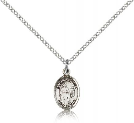 "Sterling Silver St. Susanna Pendant, Sterling Silver Lite Curb Chain, Small Size Catholic Medal, 1/2"" x 1/4"""