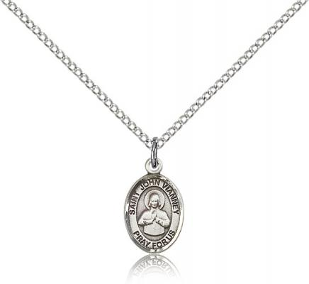 "Sterling Silver St. John Vianney Pendant, Sterling Silver Lite Curb Chain, Small Size Catholic Medal, 1/2"" x 1/4"""