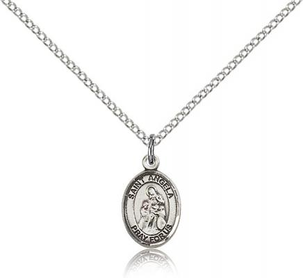 "Sterling Silver St. Angela Merici Pendant, Sterling Silver Lite Curb Chain, Small Size Catholic Medal, 1/2"" x 1/4"""
