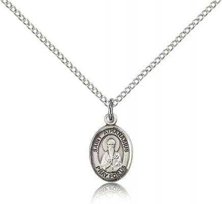 "Sterling Silver St. Athanasius Pendant, Sterling Silver Lite Curb Chain, Small Size Catholic Medal, 1/2"" x 1/4"""