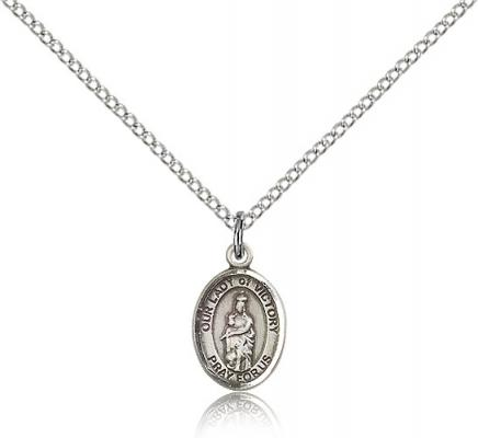 "Sterling Silver Our Lady of Victory Pendant, Sterling Silver Lite Curb Chain, Small Size Catholic Medal, 1/2"" x 1/4"""