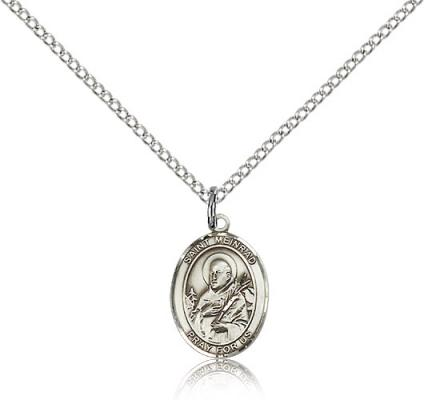 "Sterling Silver St. Meinrad of Einsideln Pendant, Sterling Silver Lite Curb Chain, Small Size Catholic Medal, 1/2"" x 1/4"""